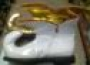 Zapatos De Arlequín Dorado/Blanco